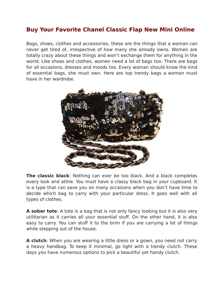 Buy Your Favorite Chanel Classic Flap New Mini Online