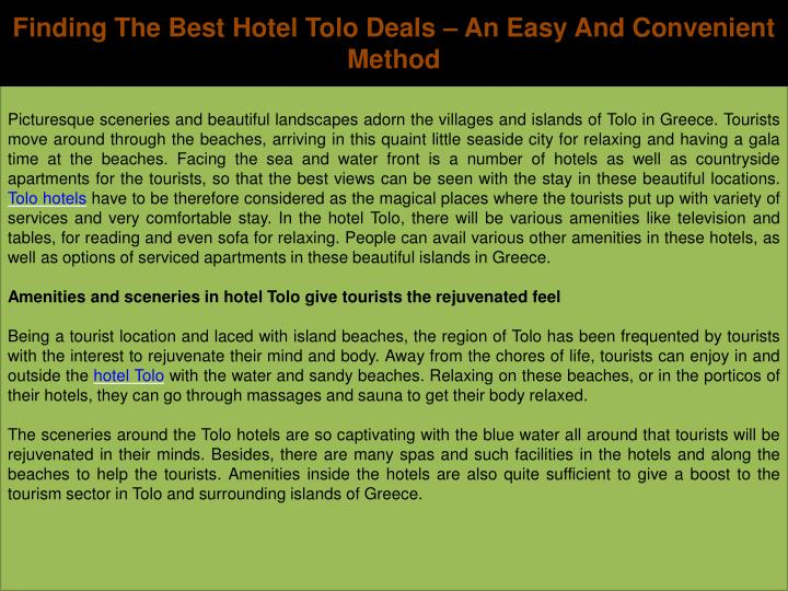 Finding The Best Hotel Tolo Deals – An Easy And Convenient Method