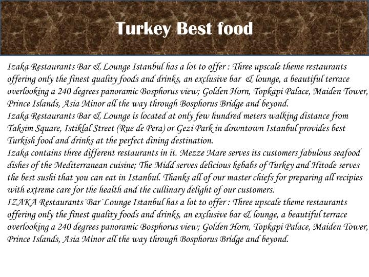 Turkey Best food