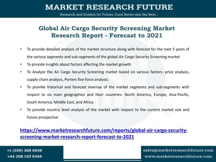 Global Air Cargo Security Screening Market Research Report - Forecast to 2021
