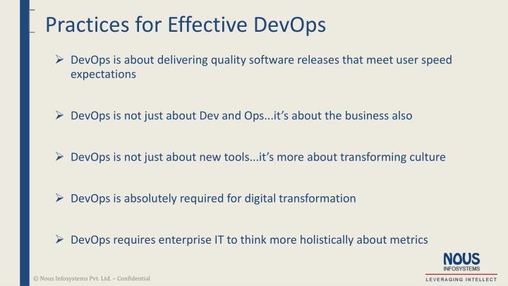 Practices for Effective DevOps