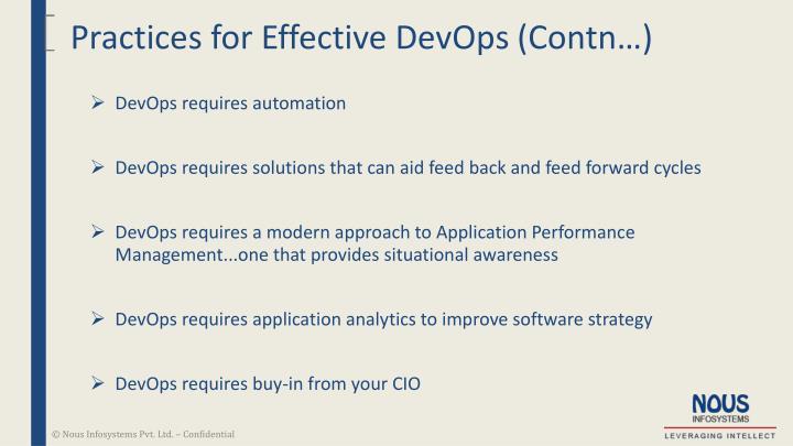 Practices for Effective DevOps (Contn