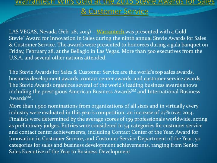 warrantech wins gold at the 2015 stevie awards for sales customer service n.