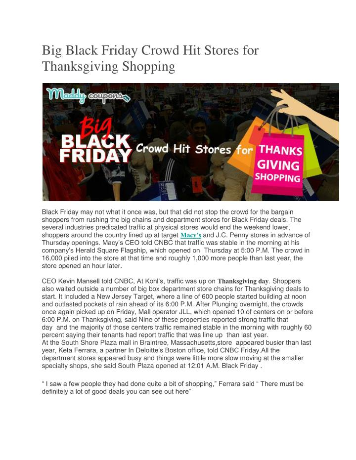 Big Black Friday Crowd Hit Stores for