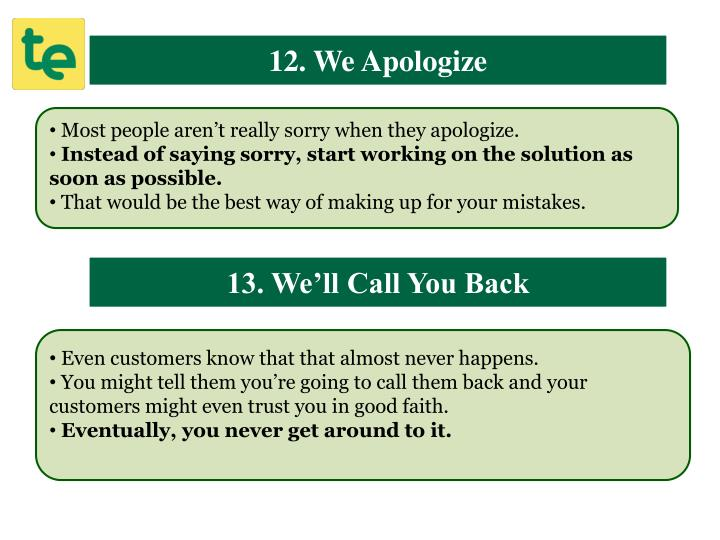 12. We Apologize