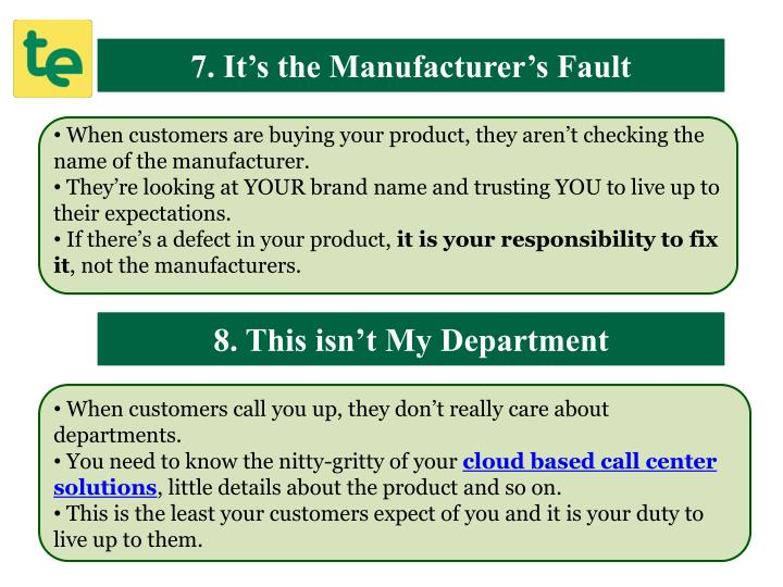 7. It's the Manufacturer's Fault