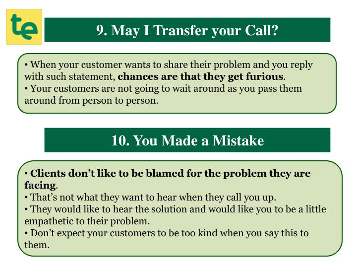 9. May I Transfer your Call?