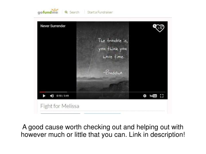 A good cause worth checking out and helping out with however much or little that you can. Link in de...