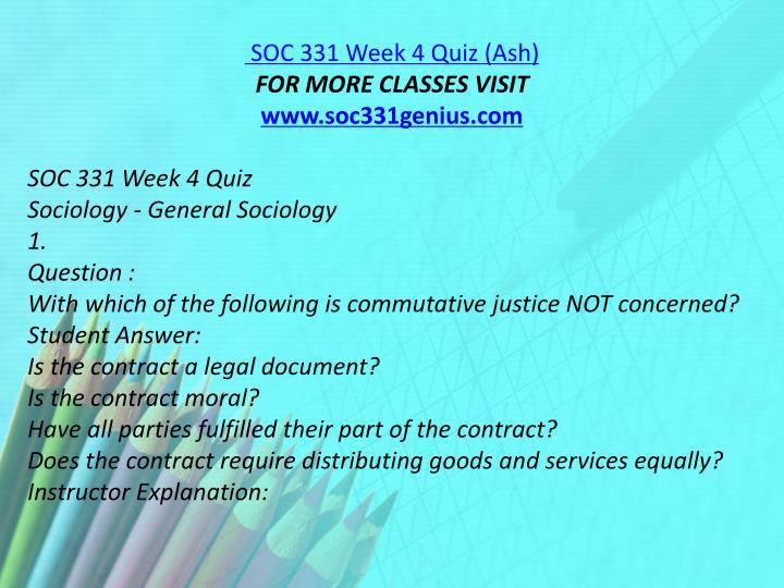 SOC 331 Week 4 Quiz (Ash)