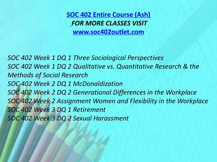 SOC 402 Entire Course (Ash)