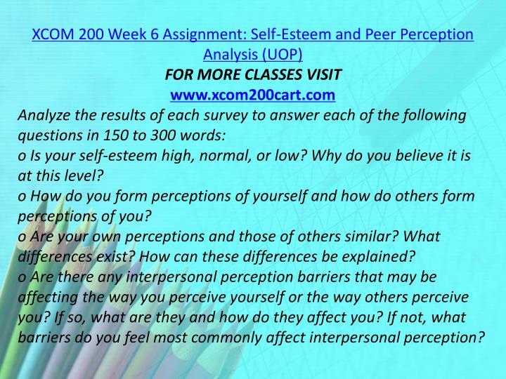 XCOM 200 Week 6 Assignment: Self-Esteem and Peer Perception Analysis (UOP)