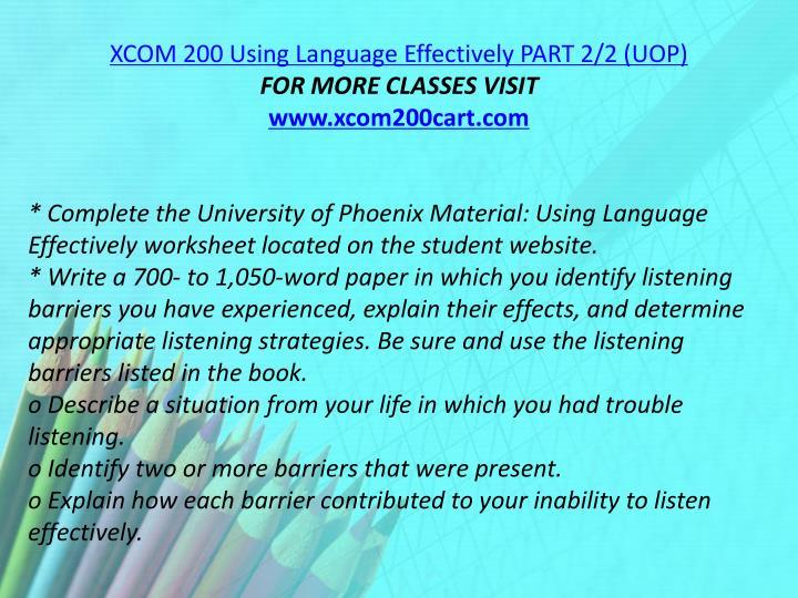 XCOM 200 Using Language Effectively PART 2/2 (UOP)