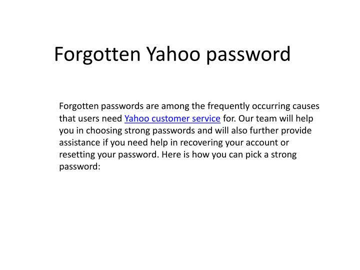 Forgotten yahoo password