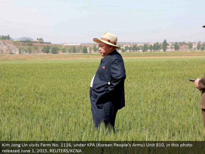 Kim Jong Un visits Farm No. 1116, under KPA (Korean People's Army) Unit 810, in this photograph discharged June 1, 2015. REUTERS/KCNA