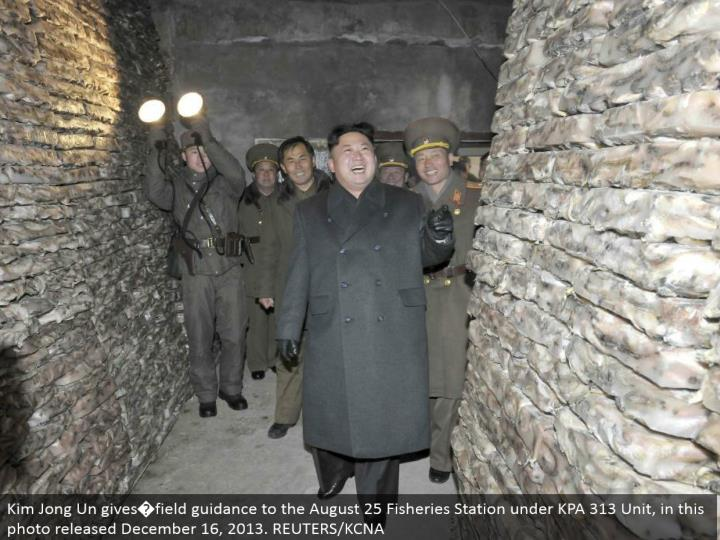 Kim Jong Un gives�field direction to the August 25 Fisheries Station under KPA 313 Unit, in this photograph discharged December 16, 2013. REUTERS/KCNA