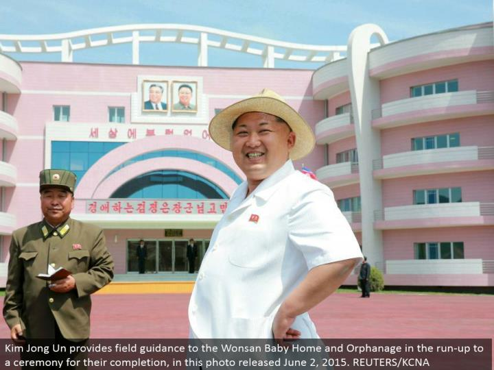 Kim Jong Un gives field direction to the Wonsan Baby Home and Orphanage in the keep running up to a service for their fruition, in this photograph discharged June 2, 2015. REUTERS/KCNA
