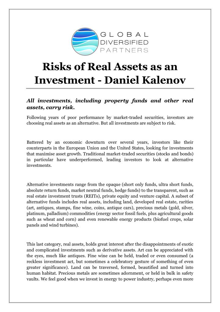 Risks of Real Assets as an