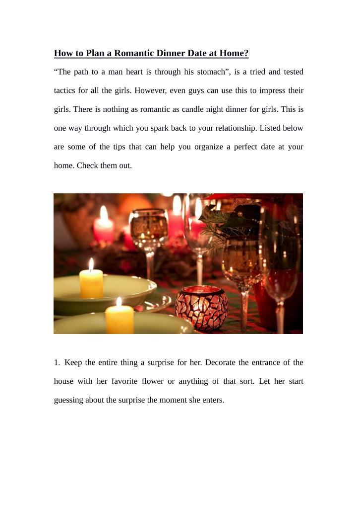 How to Plan a Romantic Dinner Date at Home?