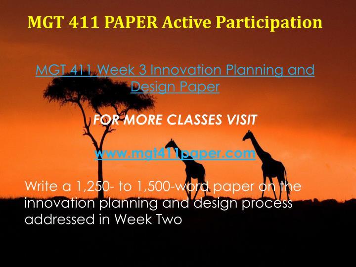 MGT 411 PAPER Active Participation