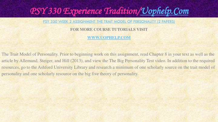 PSY 330 Experience Tradition/