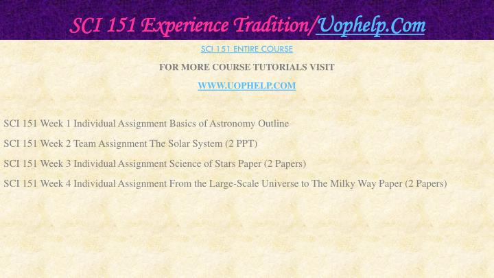 Sci 151 experience tradition uophelp com2