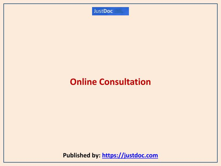 online consultation published by https justdoc com n.
