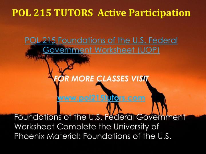 POL 215 TUTORS  Active Participation