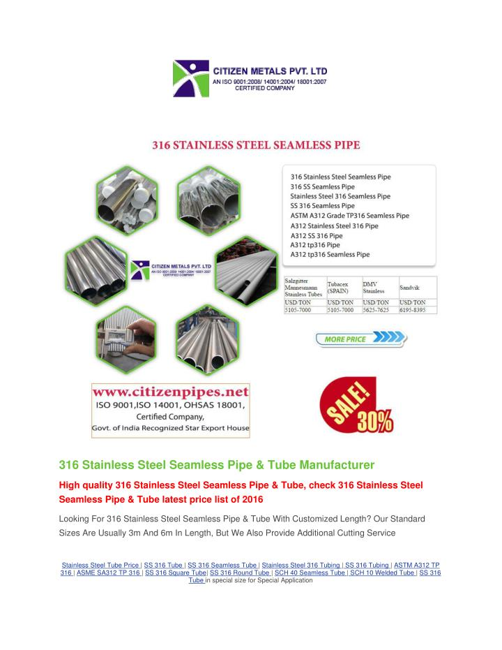 316 Stainless Steel Seamless Pipe & Tube Manufacturer