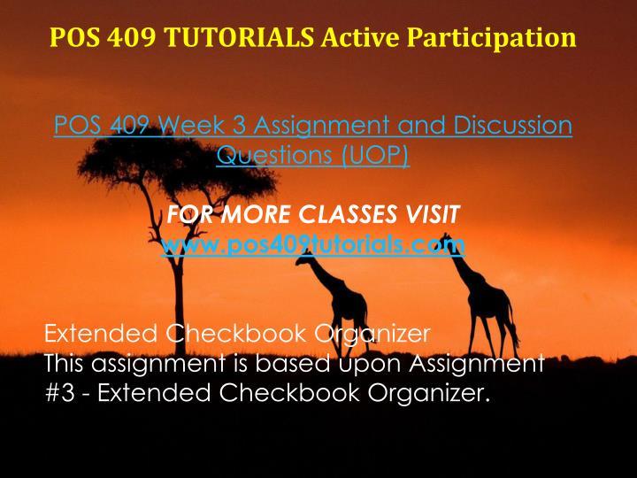 POS 409 TUTORIALS Active Participation