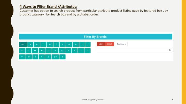 4 Ways to Filter Brand /Attributes: