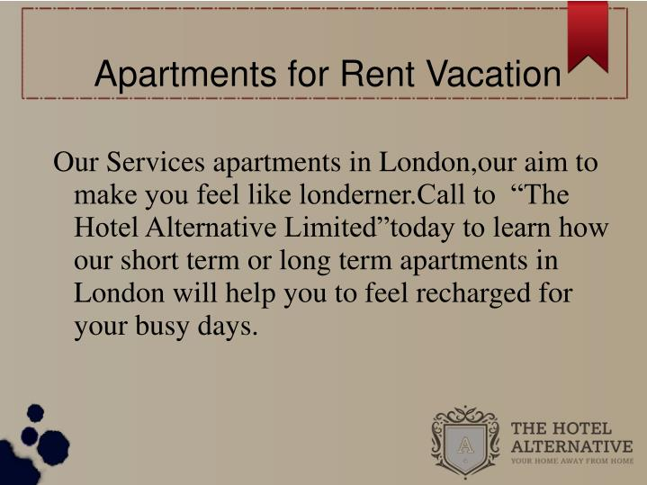 Apartments for Rent Vacation