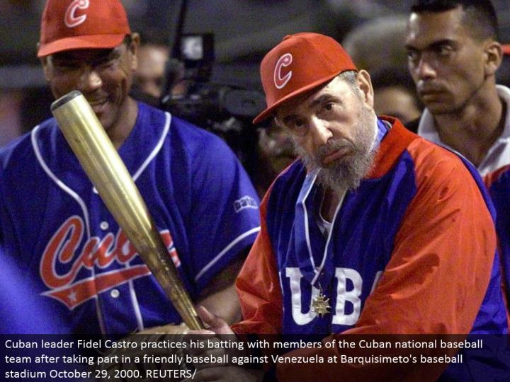 Cuban pioneer Fidel Castro hones his batting with individuals from the Cuban national baseball group in the wake of participating in an amicable baseball against Venezuela at Barquisimeto's baseball stadium October 29, 2000. REUTERS/