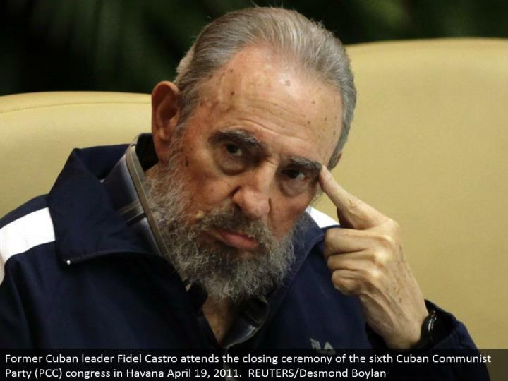 Former Cuban pioneer Fidel Castro goes to the end function of the 6th Cuban Communist Party (PCC) co...