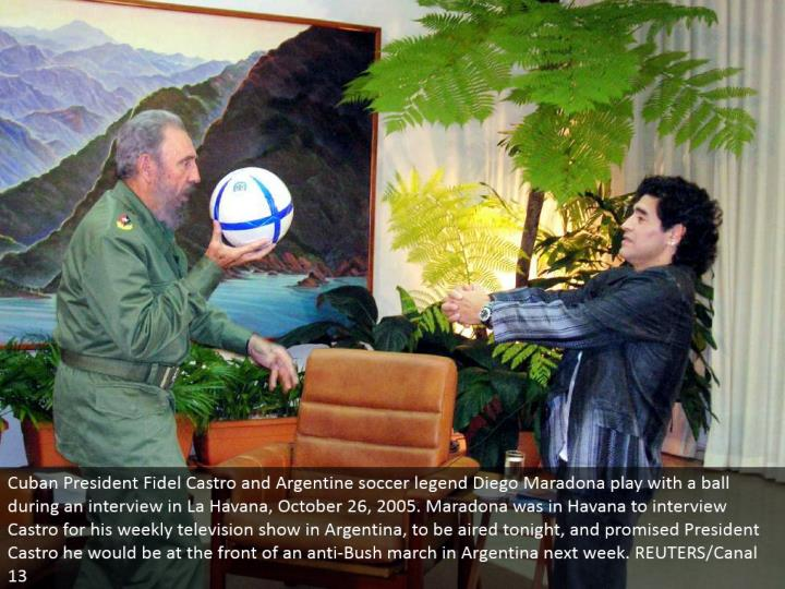 Cuban President Fidel Castro and Argentine soccer legend Diego Maradona play with a ball amid a meeting in La Havana, October 26, 2005. Maradona was in Havana to meeting Castro for his week after week TV program in Argentina, to be circulated today evening time, and guaranteed President Castro he would be at the front of an against Bush walk in Argentina one week from now. REUTERS/Canal 13