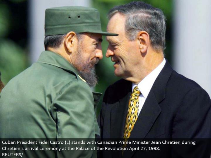 Cuban President Fidel Castro (L) remains with Canadian Prime Minister Jean Chretien amid Chretien's entry function at the Palace of the Revolution April 27, 1998.  REUTERS/