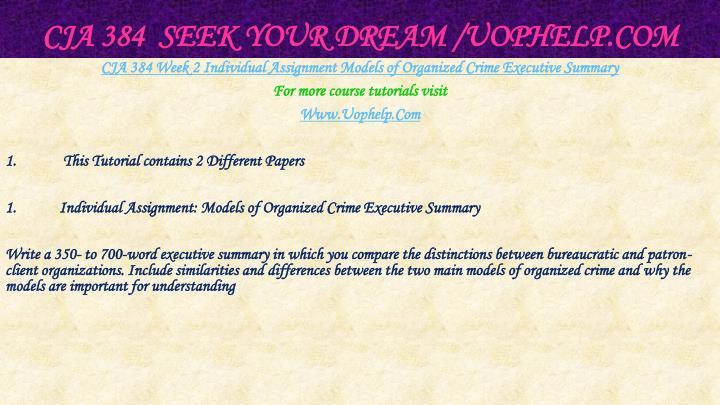 CJA 384  Seek Your Dream /