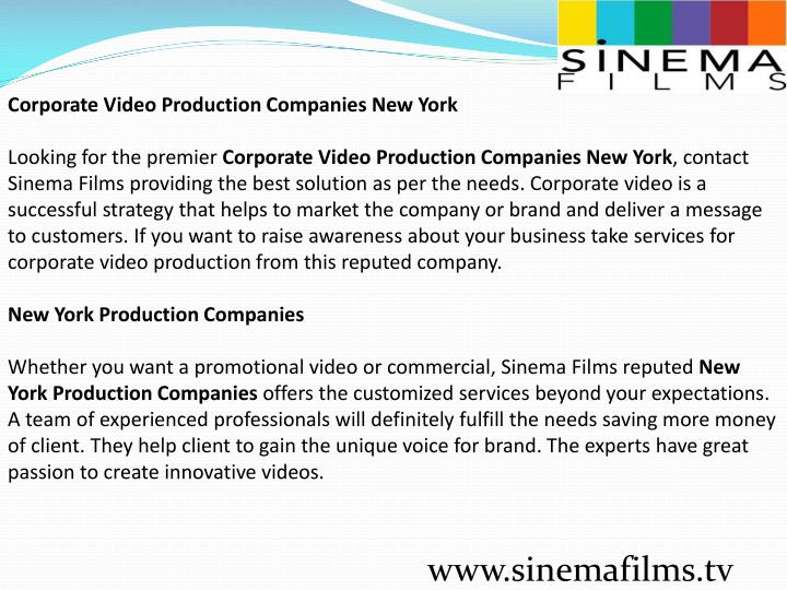 Corporate Video Production Companies New York