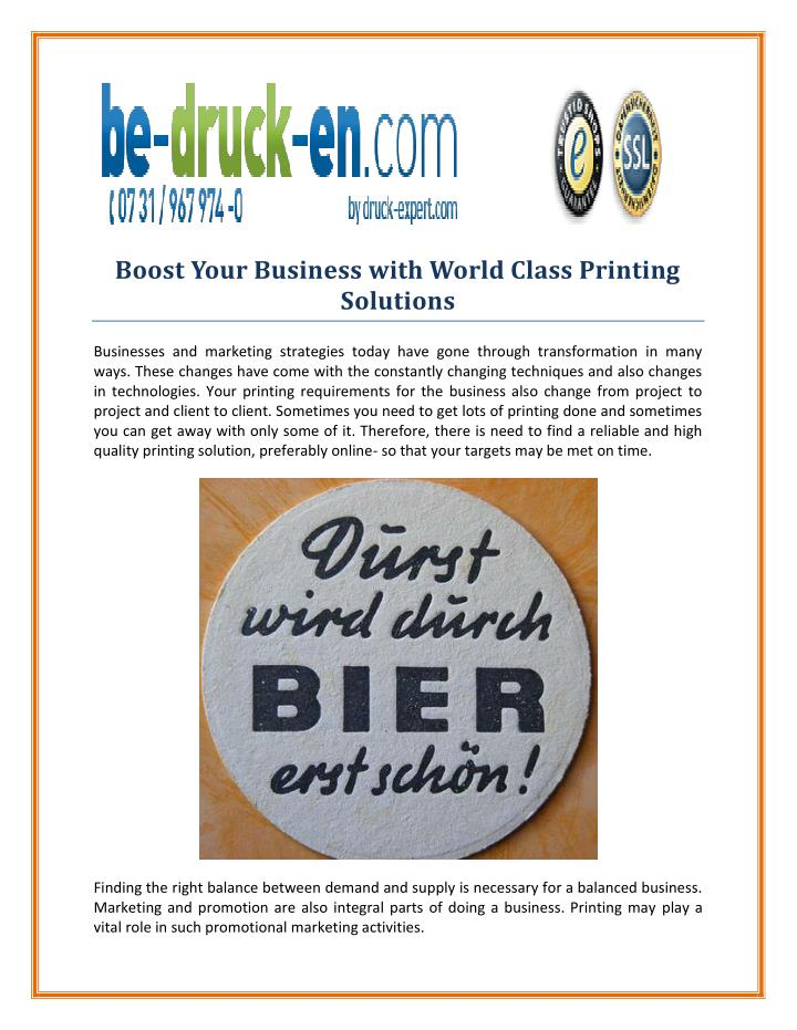 Boost Your Business with World Class Printing