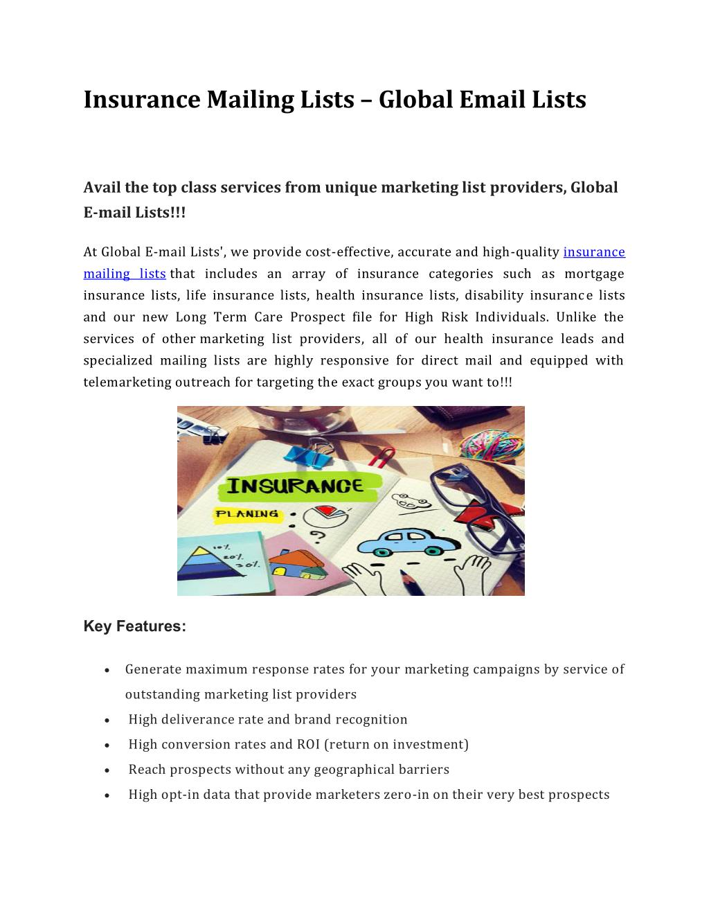 PPT - Insurance Mailing Lists – Global Email Lists