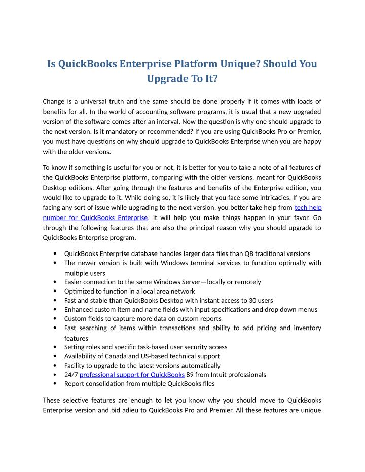 Is QuickBooks Enterprise Platform Unique? Should You