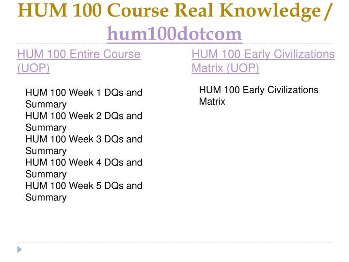 Hum 100 course real knowledge hum100dotcom1