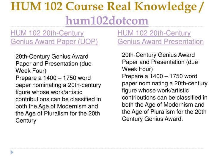 Hum 102 course real knowledge hum102dotcom1