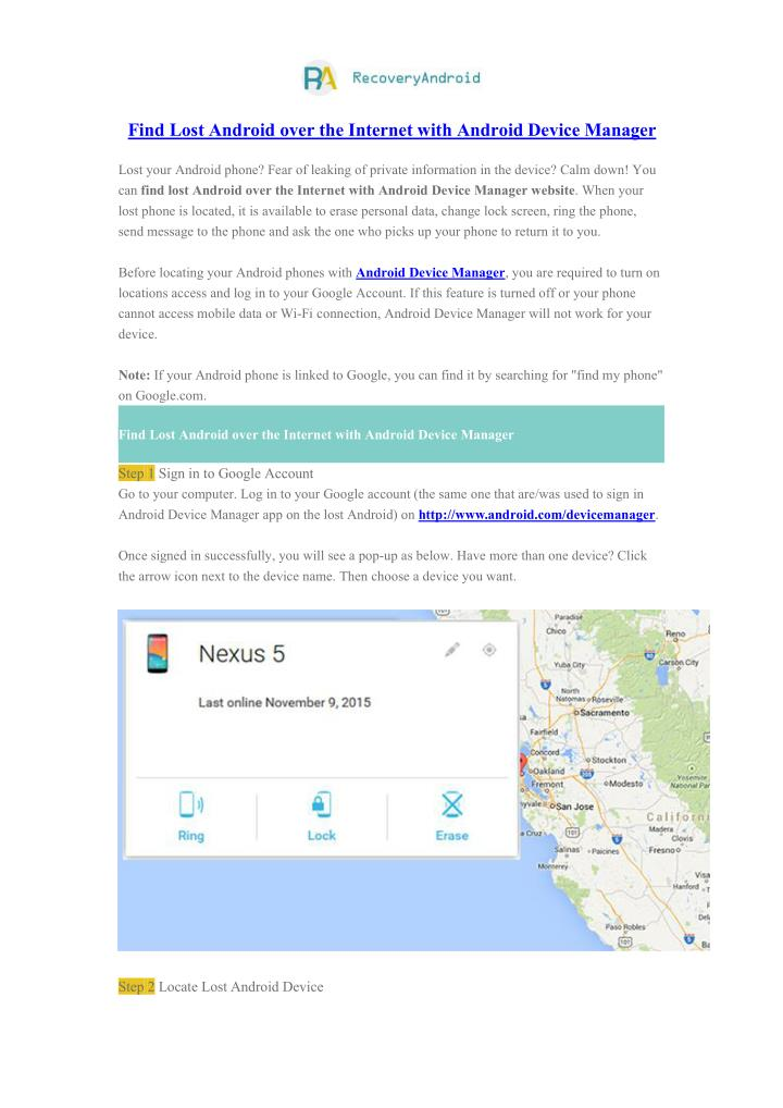 Find Lost Android over the Internet with Android Device Manager