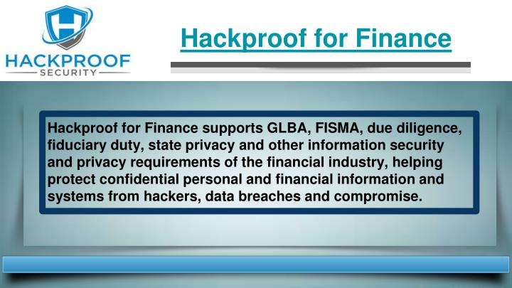 Hackproof for Finance