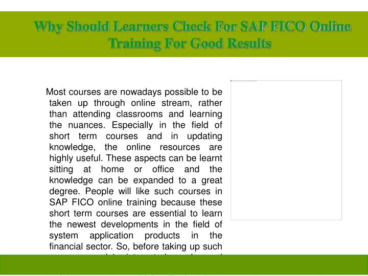 Why should learners check for sap fico online training for good results