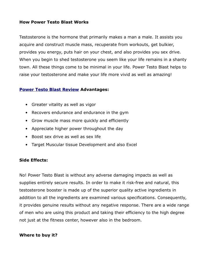 How Power Testo Blast Works
