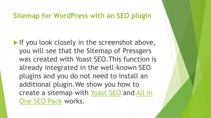 Sitemap for WordPress with an SEO plugin