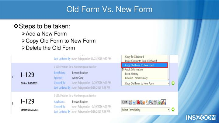 Old Form Vs. New Form