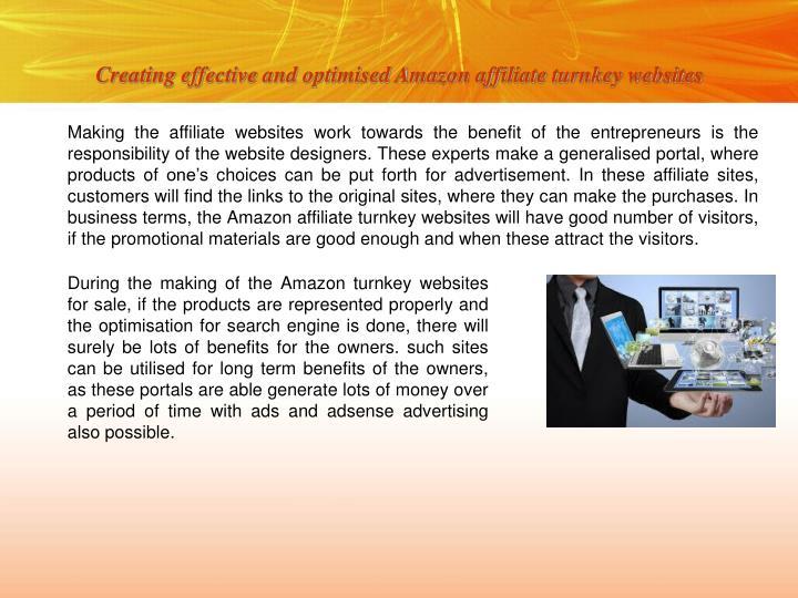Creating effective and optimised amazon affiliate turnkey websites