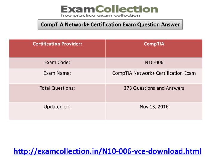 CompTIA Network+ Certification Exam Question Answer